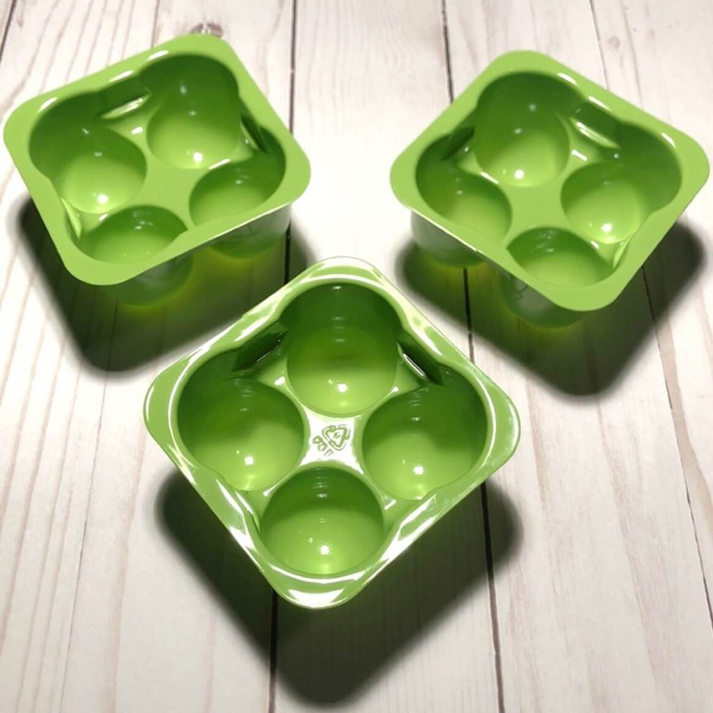 Three empty perfectlyfree non-dairy ice cream containers