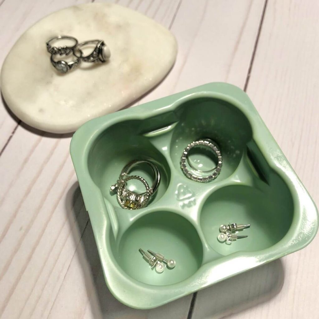 DIY perfectlyfree non-dairy frozen bites green tray as jewelry holder