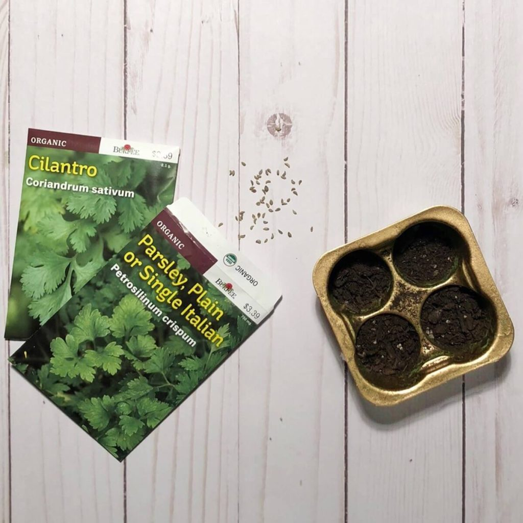 DIY perfectlyfree non-dairy frozen bites green tray with seedlings