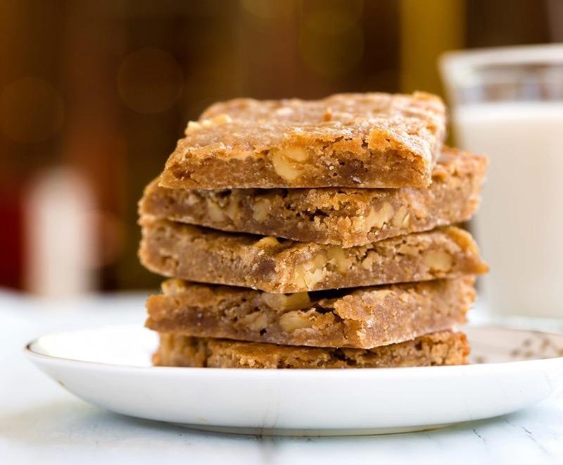 Stack of salted caramel cafe vegan blondies recipe