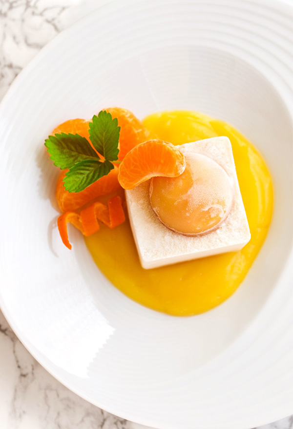 vegan orange creamsicle semifreddo dessert on plate