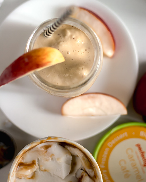 overhead caramel apple smoothie with apples and caramel cafe ice cream